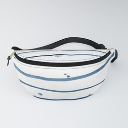 Watercolor horizontal blue lines with dots Fanny Pack