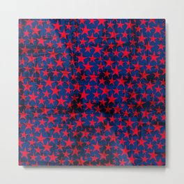 Red stars on grunge textured blue background Metal Print