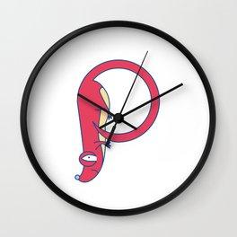 Lowercase p, no border Wall Clock