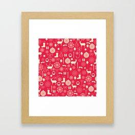 White Objects Christmas Pattern Framed Art Print