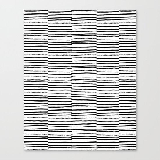 Broken Stripes pattern black and white modern urban brooklyn monochromatic print design ink  Canvas Print