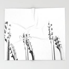 The Guitars (Black and White) Throw Blanket