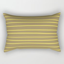 Yellow and Brown Minimal Stripe Pattern 2021 Color Of The Year Illuminating & Fennel Seed Rectangular Pillow