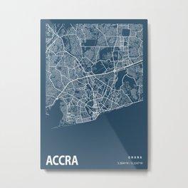 Accra Blueprint Street Map, Accra Colour Map Prints Metal Print