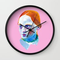 redhead Wall Clocks featuring Redhead Painting by nicky costi