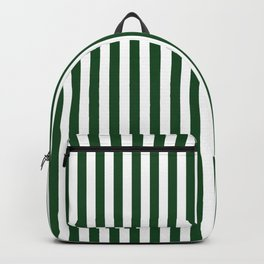 Original Forest Green and White Rustic Vertical Tent Stripes Backpack