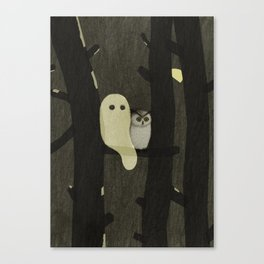 Little Ghost & Owl Canvas Print