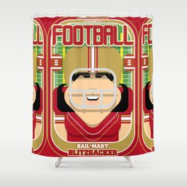 American Football Red and Gold -  Hail-Mary Blitzsacker - Amy version Shower Curtain