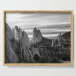 Garden of the Gods - Colorado Springs Landscape in Black and White Serving Tray