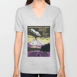 LASSEN Volcanic National Park Ranger Naturalist Service Tourism Poster Unisex V-Neck