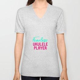 Fearless Ukulele Player Strumming Through Life Ukelele Music Unisex V-Neck