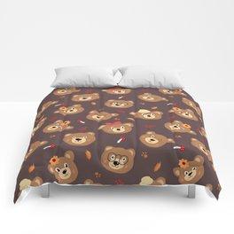 Brown Bear Heads Repeating Pattern Comforters