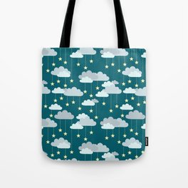 Clouds & Stars Night Sky Pattern Tote Bag
