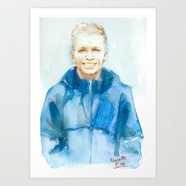 Portrait of Kevin Magnussen, Formula 1 driver. Watercolor, paper Art Print