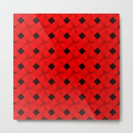 Graphic stylish pattern with dark squares and red rhombuses in a checkerboard pattern. Metal Print