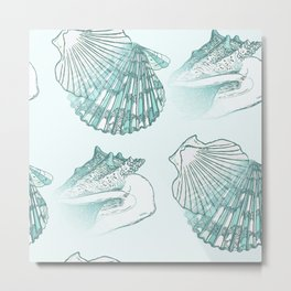 Seashells Coastal Pattern Aqua Sea Blue Metal Print