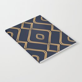Modern Boho Ogee in Navy & Gold Notebook
