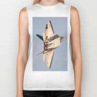 aviation Biker Tanks featuring Aviation F-22 Raptor Air Show USAF by Aviator