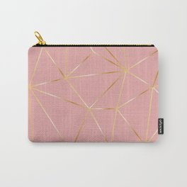 Gold Pink Polygon Carry-All Pouch