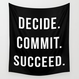 Decide Commit Succeed Motivational Gym Quote Wall Tapestry