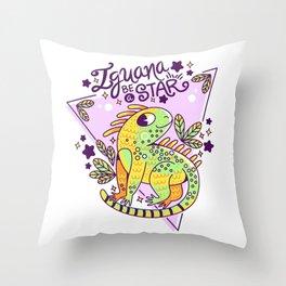 Iguana be a star Throw Pillow