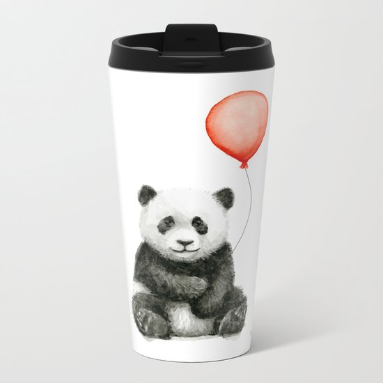 Panda and Red Balloon Baby Animals Watercolor Metal Travel Mug