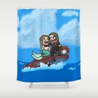 custom Shower Curtains featuring custom portrait by kaylieghkartoons