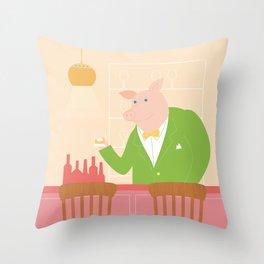 Pig's Bar Throw Pillow