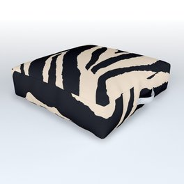 Zebra Animal Print Black and off White Pattern Outdoor Floor Cushion