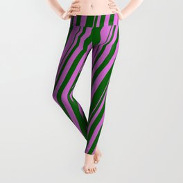 Orchid & Dark Green Colored Lined/Striped Pattern Leggings