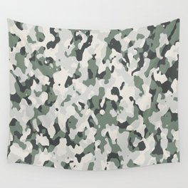 Army Camouflage Pattern Snowy Forest Wall Tapestry