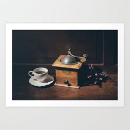 Vintage still life with coffee grinder Art Print