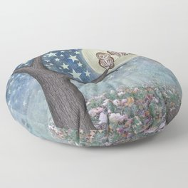 northern saw whet owls under the stars Floor Pillow