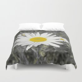 yellow columbine blossom, black white gray still life beautiful big floral pattern Duvet Cover