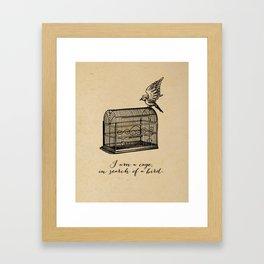 Franz Kafka - Cage in Search of a Bird Framed Art Print