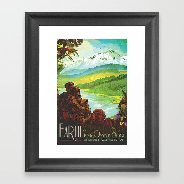 NASA Retro Space Travel Poster #2 - Earth Gerahmter Kunstdruck