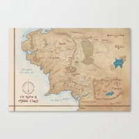 middle earth Canvas Prints featuring Map of Middle Earth by Kaz Palladino