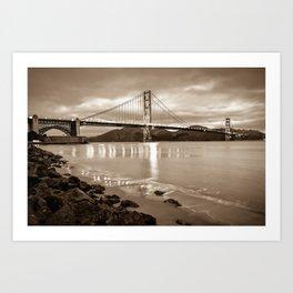 Golden Gate Bridge - Sepia - San Francisco Cityscape Art Print