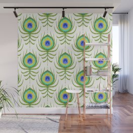Peacock Feather Ikat Wall Mural