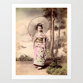 Japanese girl with parasol Art Print