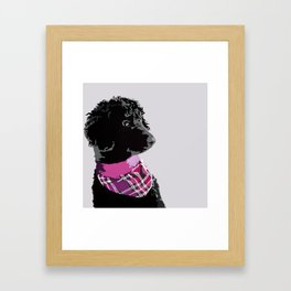 Black Standard Poodle in Grey and Pink Framed Art Print