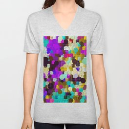psychedelic geometric circle pattern and square pattern abstract in pink purple yellow blue Unisex V-Neck
