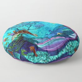 A Fish of a Different Color - Mermaid and seaturtle Floor Pillow