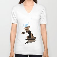 england V-neck T-shirts featuring England by Isabel Moreno-Garcia
