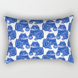 Chinese Guardian Lion Statues in Pottery Blue + White Rectangular Pillow