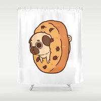 cookie Shower Curtains featuring Puglie Cookie by Puglie Pug