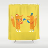 socks Shower Curtains featuring Posh foxes like to box while wearing socks by aWharton