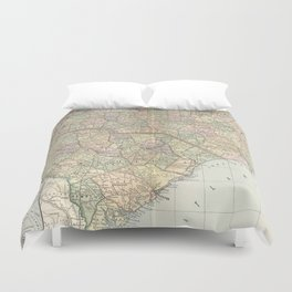 Vintage Map of The Carolinas (1891) Duvet Cover