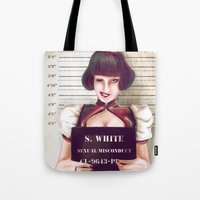 snow white Tote Bags featuring Snow white by adroverart