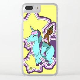 Black Unicorn Babe Clear iPhone Case